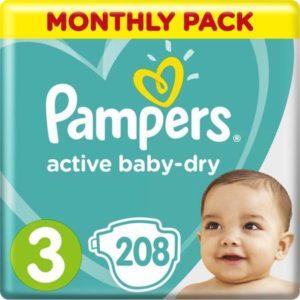 Pampers Подгузники Active Baby-Dry 6-10 кг Midi 208 шт