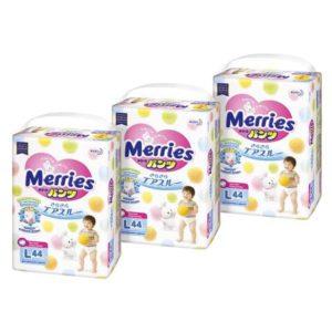 Merries Подгузники-трусики L 9-14 кг 3 упаковки по 44 шт