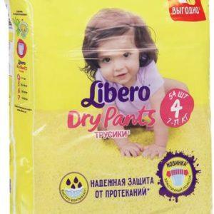 Libero Трусики Dry Pants Size 4 (7-11 кг) 54 шт