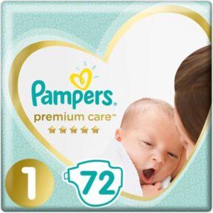 Pampers Подгузники Premium Care 2-5 кг (размер 1) 72 шт