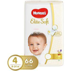 HUGGIES Подгузники Huggies Elite Soft 4, 8-14 кг, 66 шт.
