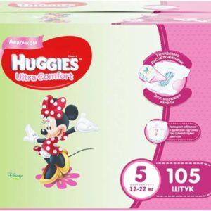 Huggies Подгузники для девочек Ultra Comfort 12-22 кг (размер 5) 105 шт