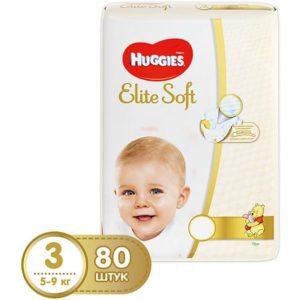 HUGGIES Подгузники Huggies Elite Soft 3, 5-9 кг, 80 шт.