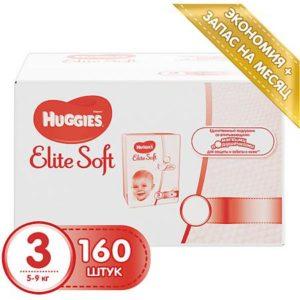 HUGGIES Подгузники Huggies Elite Soft 3, 5-9 кг, 160 шт.