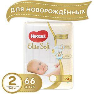 HUGGIES Подгузники Huggies Elite Soft 2, 3-6 кг, 66 шт.