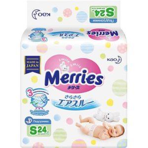 Merries Подгузники Merries S 4-8 кг., 24 шт.