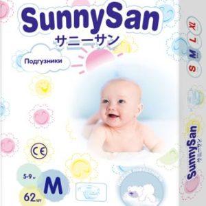 Подгузники SunnySan M (5 - 9 кг) 62 шт.
