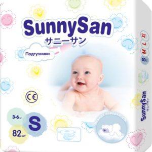 Подгузники SunnySan S (3-6 кг) 82 шт.