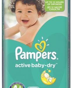 Pampers Подгузники Active Baby-Dry 9-16 кг (размер 4+) 62 шт