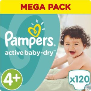 Pampers Подгузники Active Baby-Dry 10-15 кг (размер 4+) 120 шт